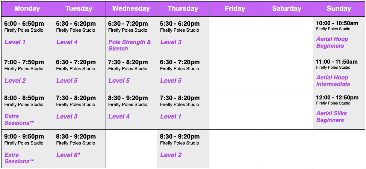 timetable of pole dance and aerial hoop classes in Norwich